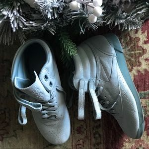 Reebok retro powder baby blue high top sneakers